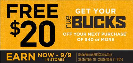 Earn FREE $20 rueBUCKS at rue21