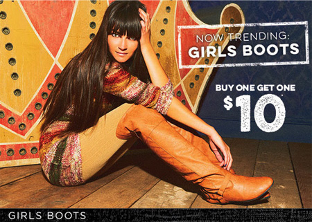 Girls Boots BOGO for $10 at rue21