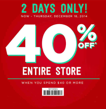 40% Off $40 or More at rue21