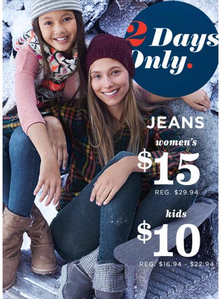$15 Women's & $10 Kids Jeans