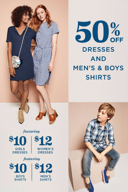 50% Off Dresses and Men's & Boys Shirts