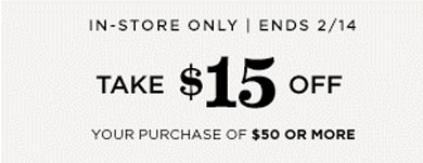 $15 Off $50 or More Purchase