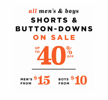 Up to 40% Off Men's & Boys' Shorts & Button-Downs at Old Navy