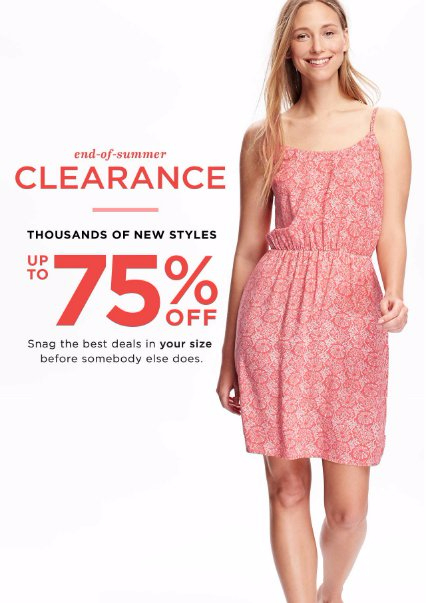 End-of-Summer Clearance up to 75% Off