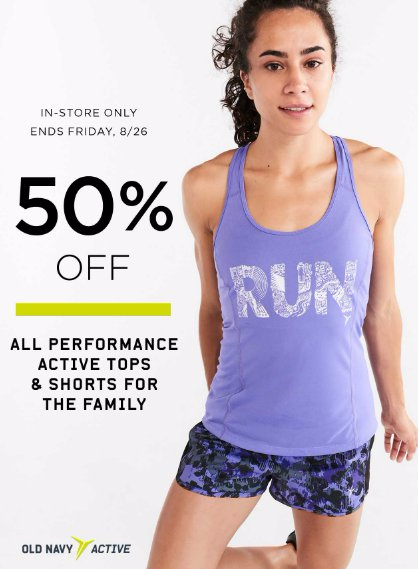50% Off Active Shorts & Tops for the Family