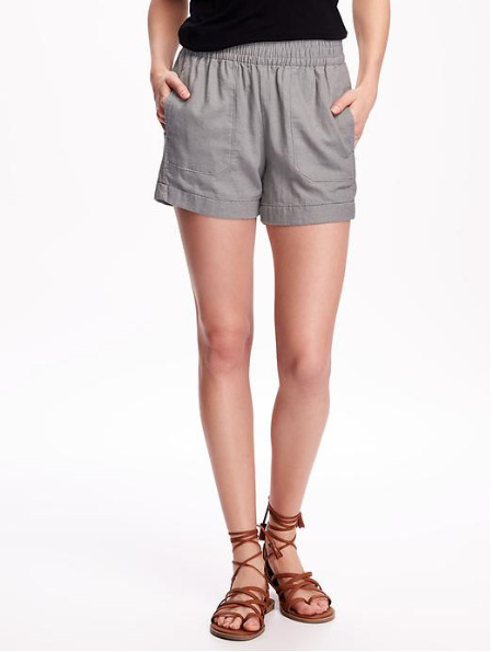 Mid-Rise Linen-Blend Utility Shorts for Women