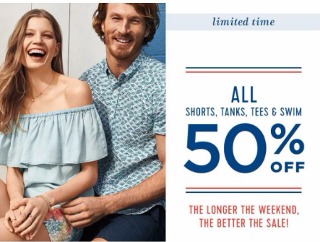 50% Off All Tees, Tanks, Swim, & Shorts