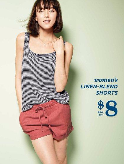$8 Women's Linen-Blend Shorts