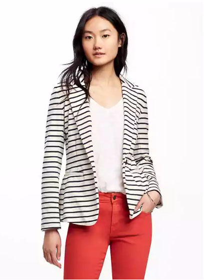 Single-Button Jersey-Knit Blazer for Women