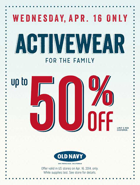 Active Wear up to 50% OFF at Old Navy