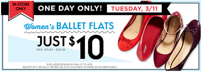 $10 Flats In-Store! at Old Navy