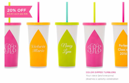 20% Off Color Dipped Tumblers