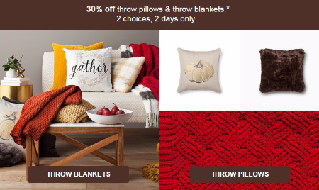 30% Off Throw Pillows & Throw Blankets