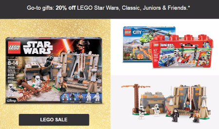 20% Off LEGO Star Wars, Classic, Juniors & Friends