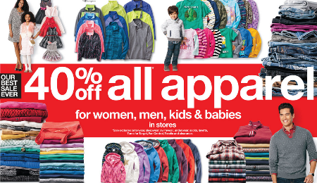 Black Friday 40% Off All Apparel at Target