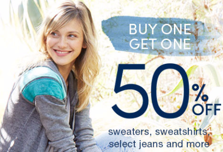 BOGO 50% Off Sweaters, Sweatshirts, Select Jeans & More