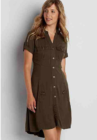 Shirtdress With High-Low Hem