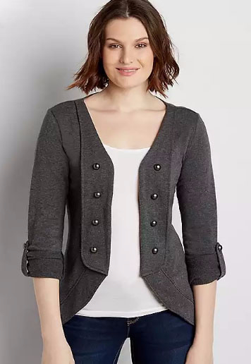 Heathered French Terry Military Cardigan