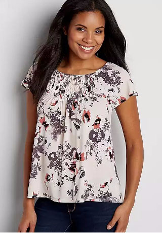 Tee with Diamond Pleated Yoke in Floral Print
