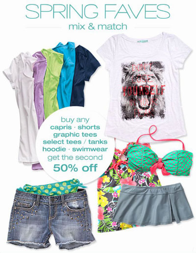 BOGO 50% Off Mix & Match Spring Faves at maurices