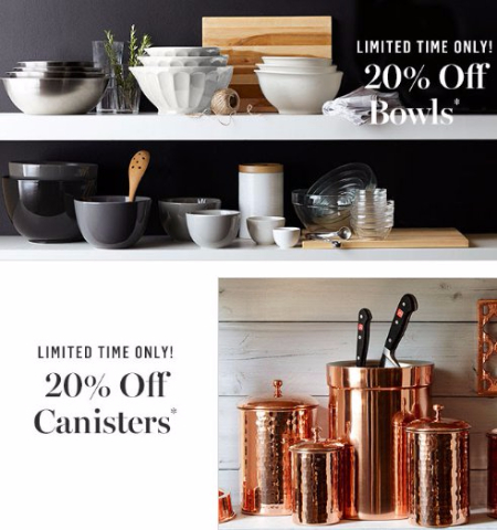 20% Off Bowls & Canisters