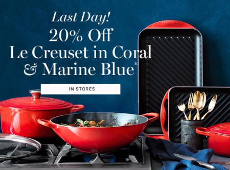 20% Off Le Creuset in Coral & Marine Blue