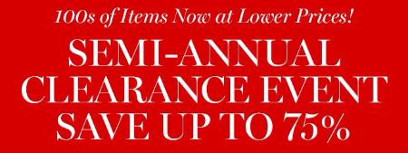 Semi-Annual Clearance Event up to 75% Off