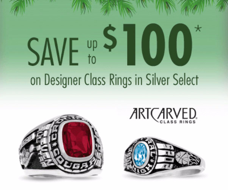 Up to $100 Off Designer Class Rings in Silver Select