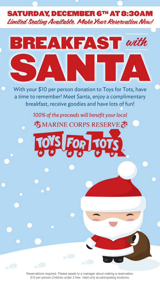 Toys For Tots Raffle : Applebee s breakfast with santa toys for tots fundraiser