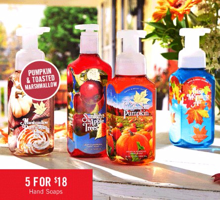 5 for $18 Hand Soaps