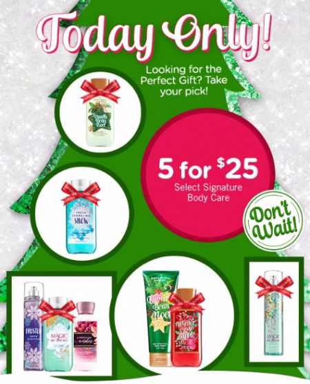 5 for $25 Select Signature Body Care