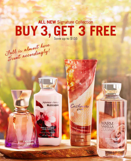 Buy 3, Get 3 Free Signature Body Care at Bath & Body Works