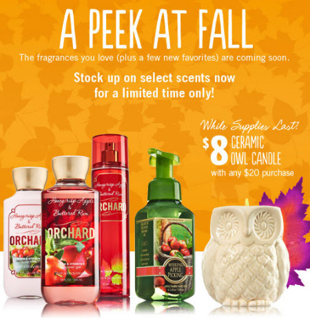 $8 Ceramic Owl Candle at Bath & Body Works
