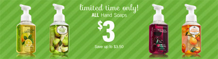 $3 Hand Soap at Bath & Body Works