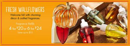 4 for $20 Wallflowers Fragrance Bulbs at Bath & Body Works