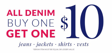 All Denim Buy One, Get One for $10