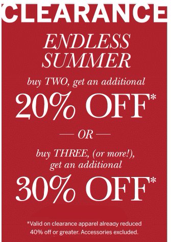 Extra 30% Off Summer Clearance