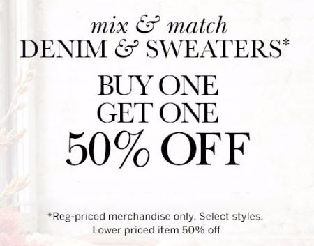 BOGO 50% Off Denim & Sweaters at dressbarn