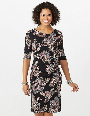 c971967de4 University Station     Paisley Faux Wrap Dress     Dressbarn