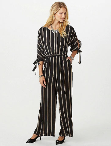 5d96bbfdf3 Asheville Outlets     Open Back Stripe Jumpsuit     dressbarn