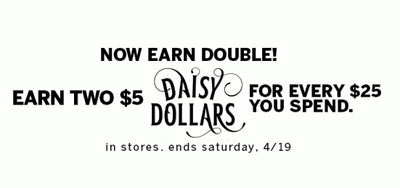Earn Two $5 Daisy Dollars for Every $25 You Spend at dressbarn