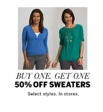 BOGO 50% Off Sweaters at dressbarn