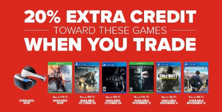 20% Extra Credit Toward These Games when You Trade