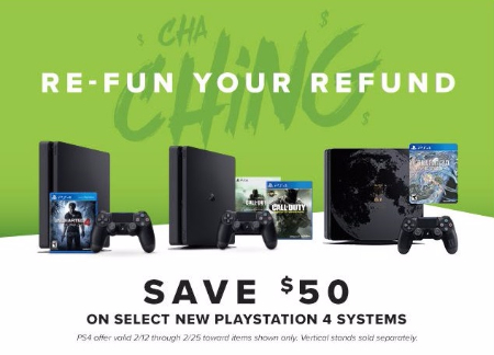 $50 Off Select New Playstation 4 Systems
