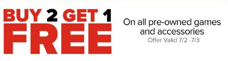 Buy 2, Get 1 Free All Pre-owned Games & Accessories