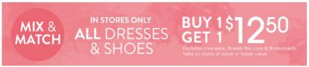 All Dresses & Shoes B1G1 $12.50
