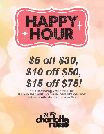 Happy Hour! Saturday 3/15 (3-6pm) at Charlotte Russe