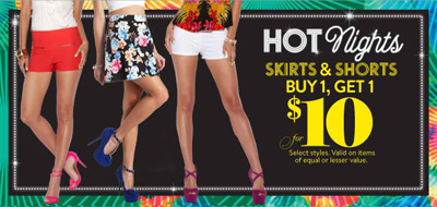 BOGO $10 Skirts & Shorts at Charlotte Russe