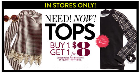 Tops BOGO For $8