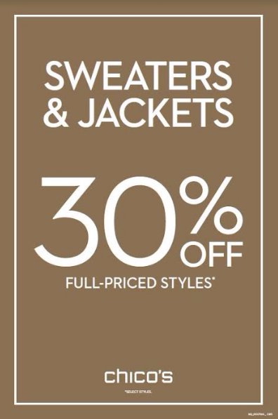 30% Off Sweaters & Jackets